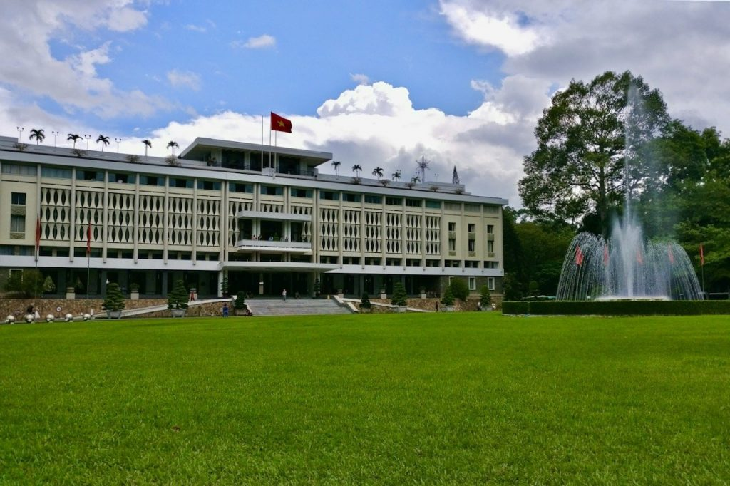 Outside the front of the Independence Palace